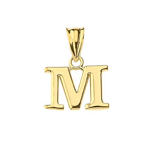 Fine Personalized Initial M Charm Pendant in Solid 10k Yellow Gold