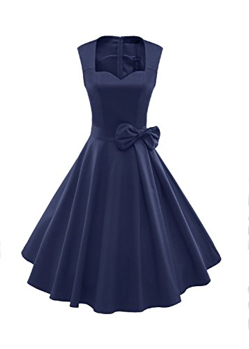 [oppicong Women's 1950s Style Vintage Rockabilly Swing Bow-knot Party Dress NavyLarge] (60s Dress Up Ideas)