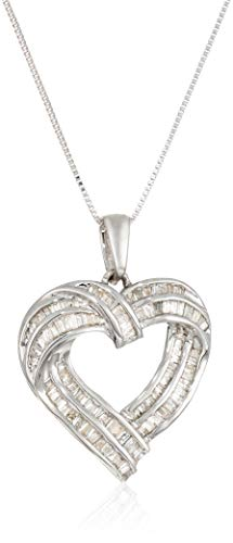 (Sterling Silver Diamond Heart Pendant Necklace (1 cttw, I-J Color, I2-I3 Clarity))