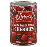 Lieber's Dark Sweet Pitted Cherries 15 Oz. Pack Of 6.