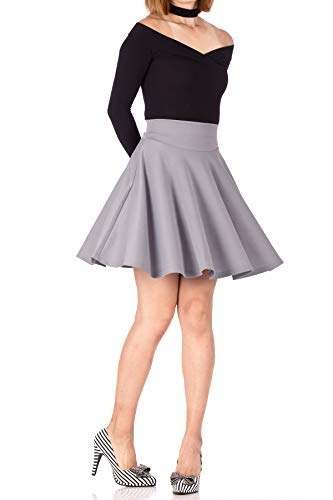 Breathtaking High Waist A-line Circle Full Flared Skater Mini Skirt (S, Light Gray)