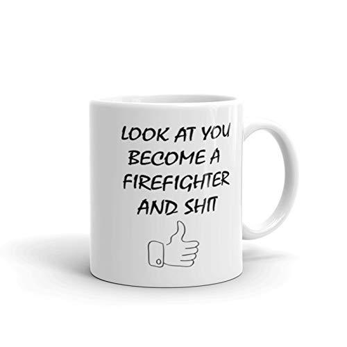 消防士になって、このおもしろマグカップ - コーヒーマグ - 男性、女性へのギフトに最適です。 11oz ホワイト B07JFH2SZ1   11oz