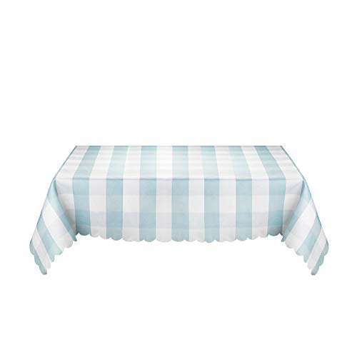 ecloth, Waterproof, OilProof, Spillproof, Light Blue & White, for Home Kitchen Dinner Picnic Parties use, Polyester Fabrics, Nordic Style Table Cover, Table Blanket 36 x 36 inch ()
