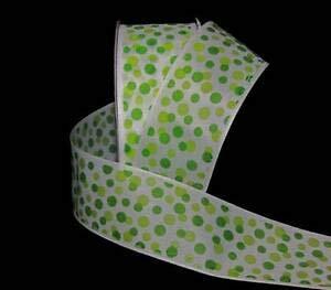 5 Yards Sale Citrus Lime Green Bubble Polka Dot White Ribbon 1 1/2