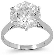 Solitaire Round Cubic Zirconia Ring Sterling Silver 925
