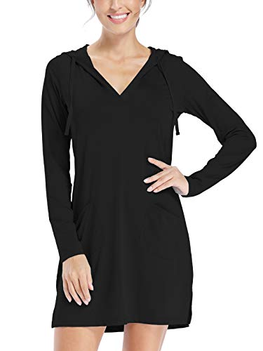 Willit Women's UPF 50+ Cover-Up Dress Beach SPF Long Sleeve Shirt Dress Sun Protection Hiking Beach