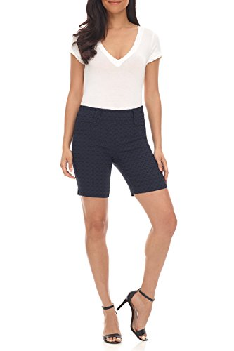 Rekucci Women's Ease Into Comfort Perfection Modern Office Short (16,Navy Floral)