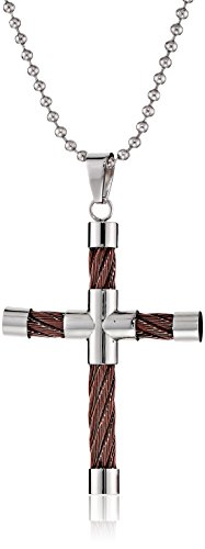 Cold Steel Stainless Steel and Brown Immersion Plate Cable Men's Cross Pendant Necklace