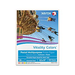 Xerox(R) Vitality Colors(TM) Multipurpose Printer Paper, Letter Size Paper, 20 Lb, 30% Recycled, Assorted Pastels, Ream of 500 Sheets