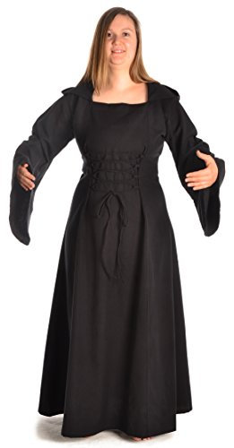 schwarz zum S grün HEMAD Kleid Schwarz rot weiß Schnüren Gugel Damen mit XL braun blau Mittelalter 7aBwx4qf