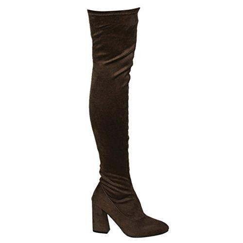 Beston FM29 Damen Stretchy Snug Fit Seitlicher Reißverschluss Oberschenkel Hohe Stiefel Halbe Größe Klein Taupe Wildleder