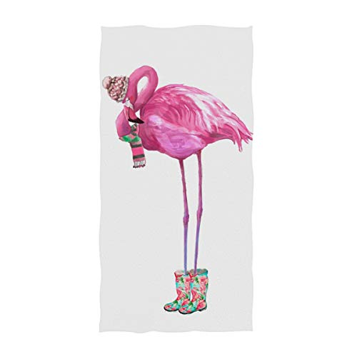 (Naanle Cute Beautiful Glamour Flamingo with Scarf and Rain Shoes Soft Bath Towel Large Hand Towels for Bathroom, Hotel, Gym and Spa (16 x 30 Inches,Pink))