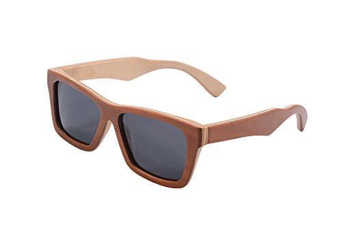 SHINU Natural Wood Frame Sunglasses Polarized Lenses Anti-glare Wooden Sunglasses-Z68020(outside brown inside - Wayfayer Sunglasses