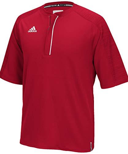 adidas Climalite Modern Varsity Short Sleeve 1/4 Zip - Power Red - Medium