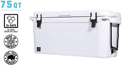 BISON COOLERS 75 Quart Large Double Insulated Rotomolded Ice Chest Box with Hard Shell, Lid and Liner Includes 5 Year Warranty Made in The USA