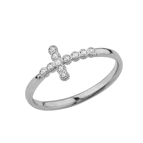 Fine 10k White Gold Modern Diamond Sidesways Cross Ring (Size 4.5)