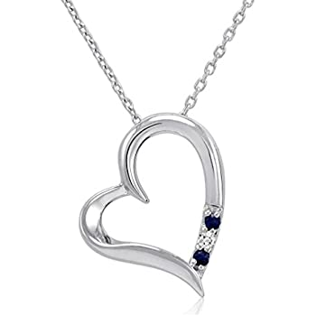 Amazon 3 stone sapphire and diamond open heart pendant necklace 3 stone sapphire and diamond open heart pendant necklace in sterling silver 18 chain mozeypictures Image collections