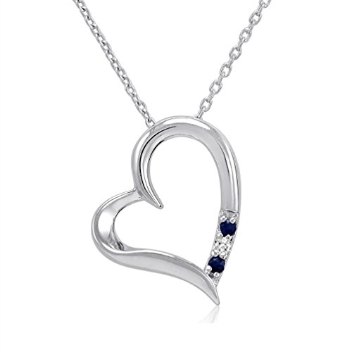 - 3 Stone Sapphire and Diamond Open Heart Pendant Necklace in Sterling Silver (18