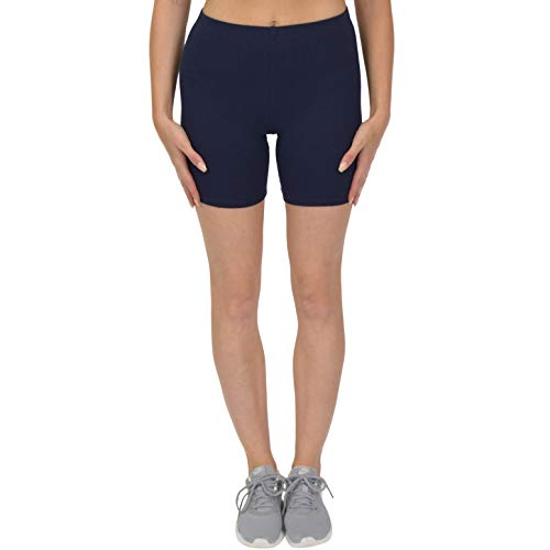 Stretch is Comfort Girl's Cotton Bike Shorts Navy Blue Large