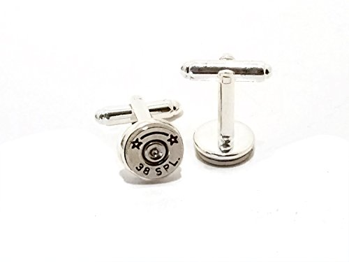 Men's Bullet Gun Ammo Jewelry Accessory 38 Special Silver Cuff Links Gift for Him