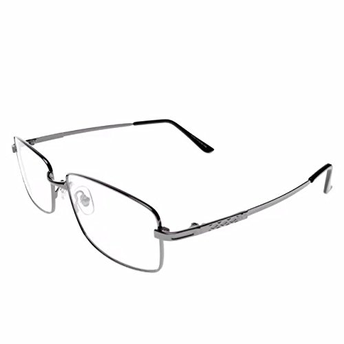 Jcerki Gray Memory metal Frame Bifocals Reading Glasses 3.00 strengths Men Women Fashion Light Bifocals Reading Eyeglasses 23 Strengths Available
