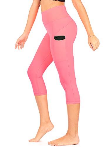 DEAR SPARKLE High Waist Yoga Capri with 3 Pockets Workout Tummy Control Running Capris Plus (S2) (Neon Pink, - Neon Control