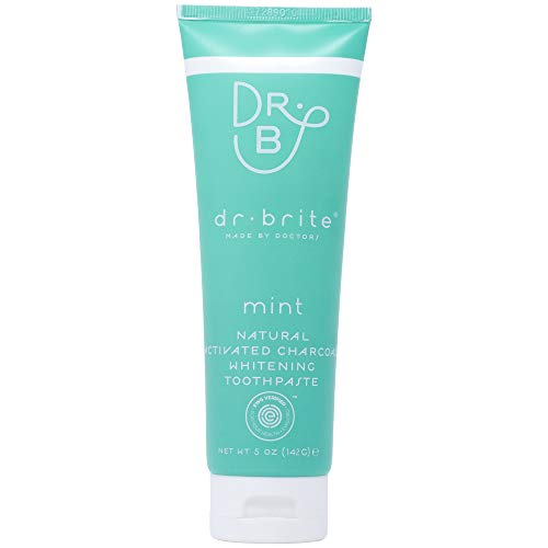 Dr. Brite Mint Toothpaste | Whitening Toothpaste with Natural Activated Charcoal | Fluoride Free, Using 100% Edible Ingredients | Safe to Swallow