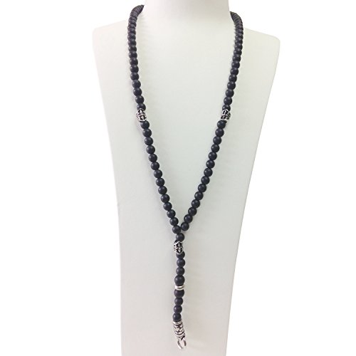 Black Onyx Rosary Beads (Men 8mm black matte Bead Cluster Necklace & Vintage Silver tone Stainless Steel Charms)