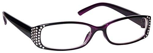 Black Purple Diamonte Style Near Short Sighted Distance Glasses For Myopia Designer Style Womens Ladies M93-5 - Glasses Distance Short