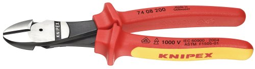 Knipex 7408200SBA 8-Inch High Leverage Diagonal Cutters - 1000 Volt