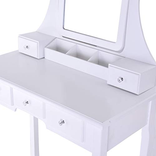 Sonmer Vanity Set with Mirror, Cushioned Stool, Storage Shelves, Drawers Dividers ,3 Style Optional, Shipped from US - Two Day Shipping (#1, White) by Sonmer (Image #6)