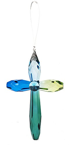 Rainbow Cross Crystal Expressions 7 Inch Acrylic Hanging Ornament-Blue/Turquoise