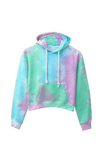 Kara Hub Long Sleeve Pullover Pastel Cropped Tie Dye Hoodie Sweatshirt (Medium, Seafoam Pink ()