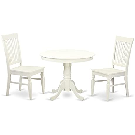 East West Furniture ANWE3 LWH W 3 PC Set With One Table Two Solid Wood Seat Dinette Chairs In A Distinctive Linen White
