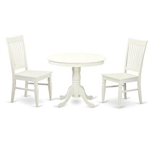 East West Furniture ANWE3-LWH-W 3 PC Set with One Table & Two Solid Wood Seat Dinette Chairs in a Distinctive Linen White