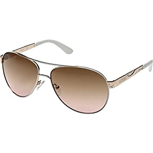 GUESS Unisex GF0282 Shiny Rose Gold/Gradient Brown Sunglasses