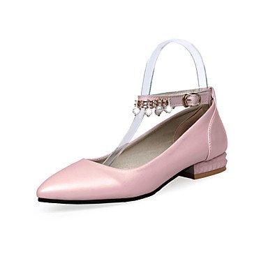 Donne 039 s sandali pompa di base Comfort PU Primavera Estate parte &amp abito da sera della pompa base Comfort Strass imitazione perla Chunky HeelBlushing PinkUS7.5 UE38 UK5.5 CN38