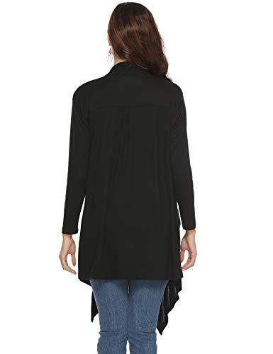 Giacca nero Bolero Cardigan Gilet in lunghe asimmetriche lungo tasche chiffon Donna maniche con aperta 3 qwxAHt8A