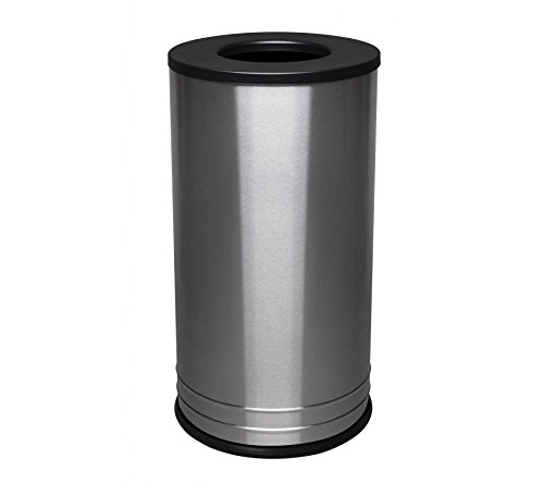 Ex-Cell Kaiser INT1528 T-8 SS BLX International Collection Stainless Steel Indoor Ash/Trash Receptacle with Black Textured Top, 15