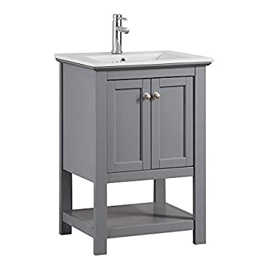 "Fresca Manchester 24"" Gray Traditional Bathroom Vanity - Dimensions of Vanity: 23.5""W x 18""D x 34""H Vanity Materials: Solid Wood Frame with MDF Panels Countertop/Sink Materials: Integrated Ceramic Sink - bathroom-vanities, bathroom-fixtures-hardware, bathroom - 31TRWXXk8 L. SS400  -"