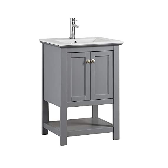 "Fresca Manchester 24"" Gray Traditional Bathroom Vanity - Dimensions of Vanity: 23.5""W x 18""D x 34""H Vanity Materials: Solid Wood Frame with MDF Panels Countertop/Sink Materials: Integrated Ceramic Sink - bathroom-vanities, bathroom-fixtures-hardware, bathroom - 31TRWXXk8 L. SS570  -"