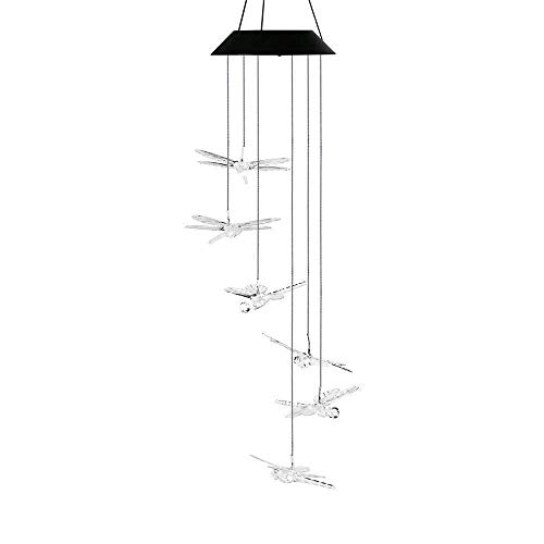 Solar-Powered Wind Chime AVEKI Color-Changing LED Solar Mobile Wind Chime Outdoor Led Hanging lamp Waterproof Spiral Spinner Wind Chime Wind Bell for Yard, Garden, Home, Pathway (Dragonfly) ()