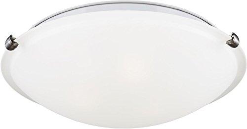 (Sea Gull Lighting 7543502EN3-962 Clip Ceiling Flush Mount, 2-Light LED 19 Total Watts, Brushed Nickel)