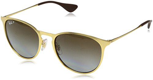 (Ray-Ban Erika Metal Polarized Round Sunglasses MATTE GOLD 54 mm)