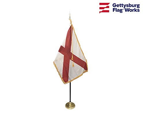 3x5' Alabama Indoor Flag Set, Includes Indoor Flag, Flag Spreader, Base, Pole, Spear Finial and Decorative Cord and - Spears Finials