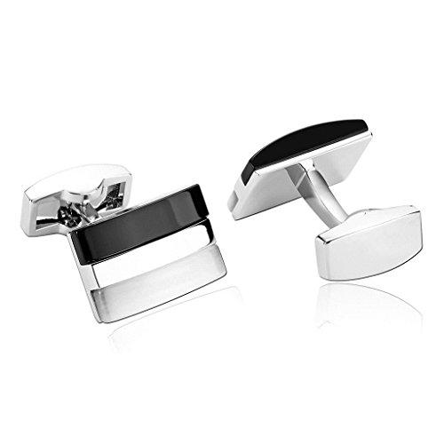 Daesar Men's Stainless Steel Cuff Links Black White Stripe Rectangle Bend Cufflink