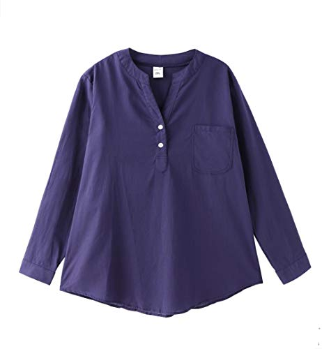 Women Stand Collar Long Sleeve Casual Cotton Loose Soft Tunic Tops T Shirt Blouse Plus Size (Navy Blue #1, Large (US 6-8)) ()