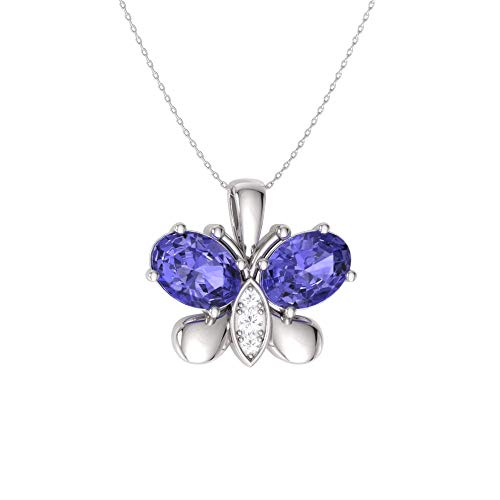 Diamondere Natural and Certified Oval Cut Tanzanite and Diamond Butterfly Necklace in 14k White Gold | 0.60 Carat Pendant with Chain