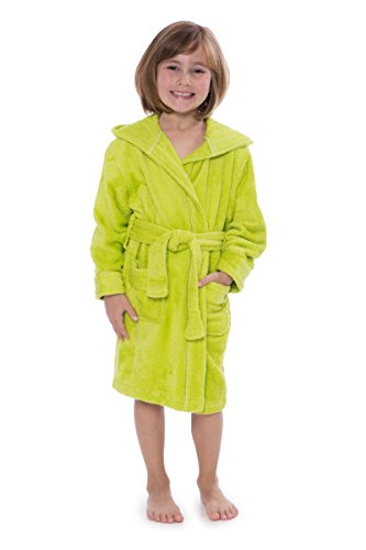 Kid's Hooded Terry Cloth Bathrobe - Cozy Robe by for Kids Texere (Rub-A-Dub, Lime Punch, Large) for Kids KB0101-LMP-L