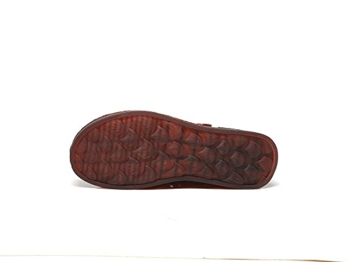 Ocasionales Mano Sandalias Mujer Ahuecado de Verano a Sandalias Zapatos Cuero Zapatos Hechos Marrón Cómodo Primavera Planas de caseros DANDANJIE Zapatos Transpirable fw0Bq0